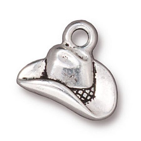 Fine Silver Plated Pewter Western Cowboy Hat Charm 12mm (1)
