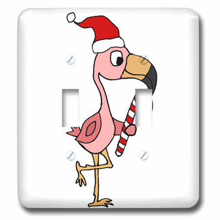 3dRose Funny Cool Pink Flamingo Bird in Santa hat Christmas Cartoon - Double Toggle Switch
