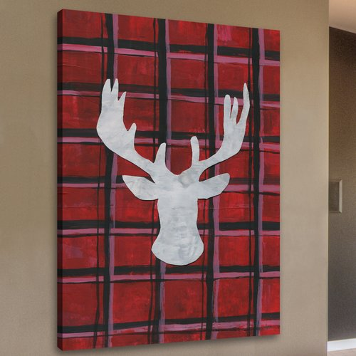 Loon Peak 'Deer on Plaid' Framed Print on Wrapped Canvas