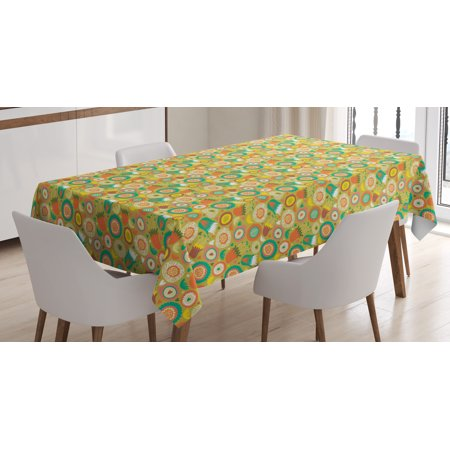 Whimsical Tablecloth, Botanical Pattern with Doodle Style Blooming Flowers Spring Fantasy Garden Art, Rectangular Table Cover for Dining Room Kitchen, 60 X 84 Inches, Multicolor, by Ambesonne