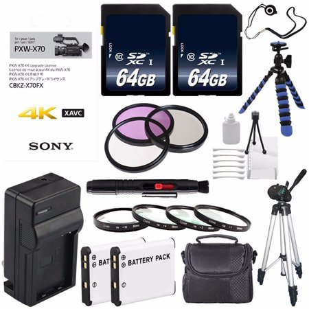 Sony 4K Upgrade License Key for Sony PXW-X70 + NP-FV70 Replacement Lithium Ion Battery + External Rapid Charger + Carrying Case + 62mm 3 Piece Filter Kit + 62mm Macro Close Up Kit Bundle 10