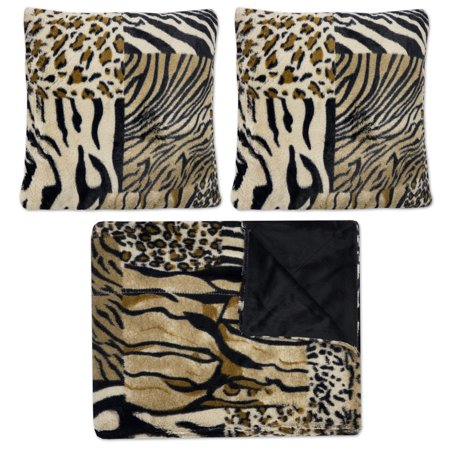 Faux Fur Throw And Pillow Set : Mixed Exotic Animal Print 3 Piece Plush Faux Fur Decorative Pillow and Throw Set - Walmart.com