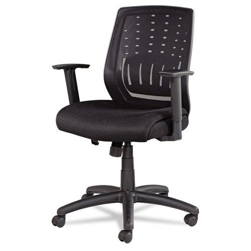 Alera Mesh Manager`s Synchro-Tilt Mid-Back Chair, Black Arms/Base, Black ALEEK4217