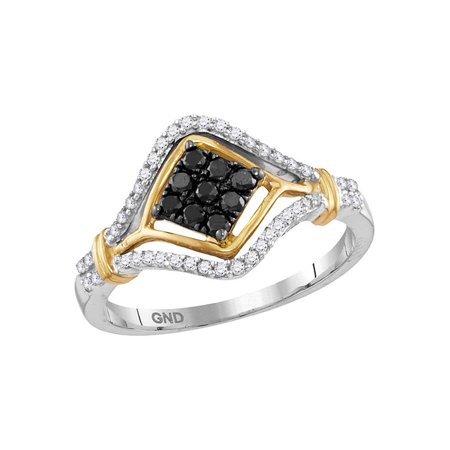10kt Two-tone Gold Womens Round Black Color Enhanced Diamond Cluster Ring 3/8 Cttw - image 1 of 1