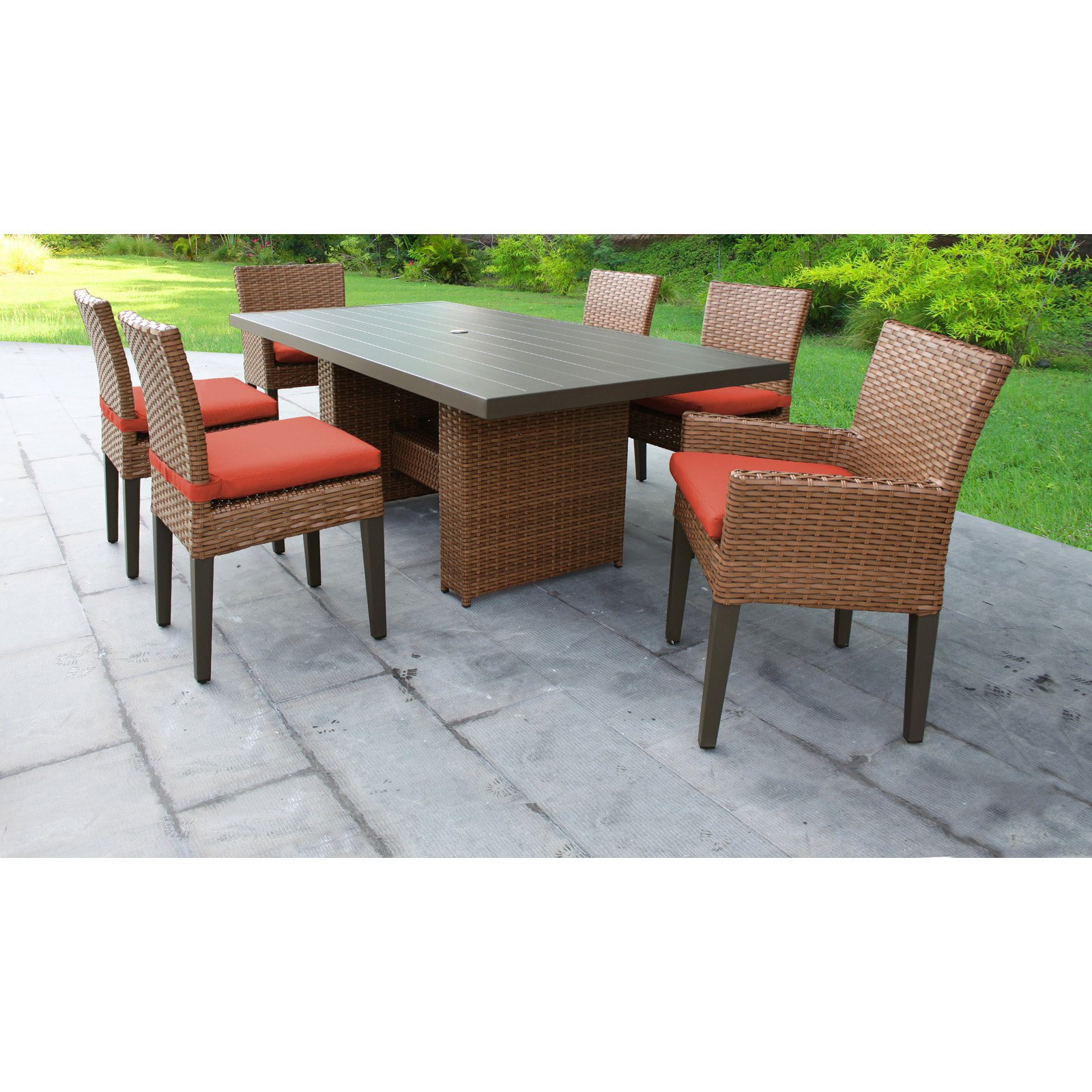 TK Classics Laguna Wicker 7 Piece Patio Dining Set