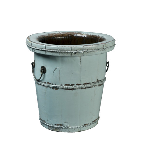 Antique Revival Chinese Wooden Bucket with Iron Handles