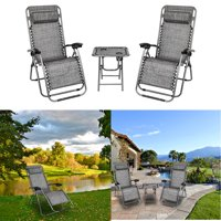 GLiving Infinity Zero Gravity Chair, Outdoor Lounge Patio Chairs with Pillow and Utility Tray Adjustable Folding Recliner for Deck,Patio,Beach,Yard