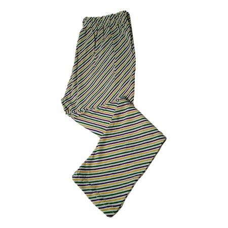 Mardi Gras Leggings Girls 4 Stripe Purple Green Yellow White Soft Knit