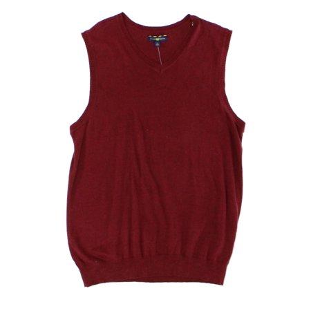 Club Room NEW Red Mens Size Medium M V-Neck Ribbed-Knit Sweater Vest