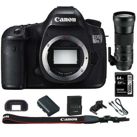 Canon EOS 5DS R 50.6MP Digital SLR Camera (Body Only) w/Bundle Includes, Sigma 150-600mm F5-6.3 DG OS HSM Zoom Lens  for Canon DSLR Cameras + Lexar 64GB 1000x SDHC/SDXC Class 10 Memory