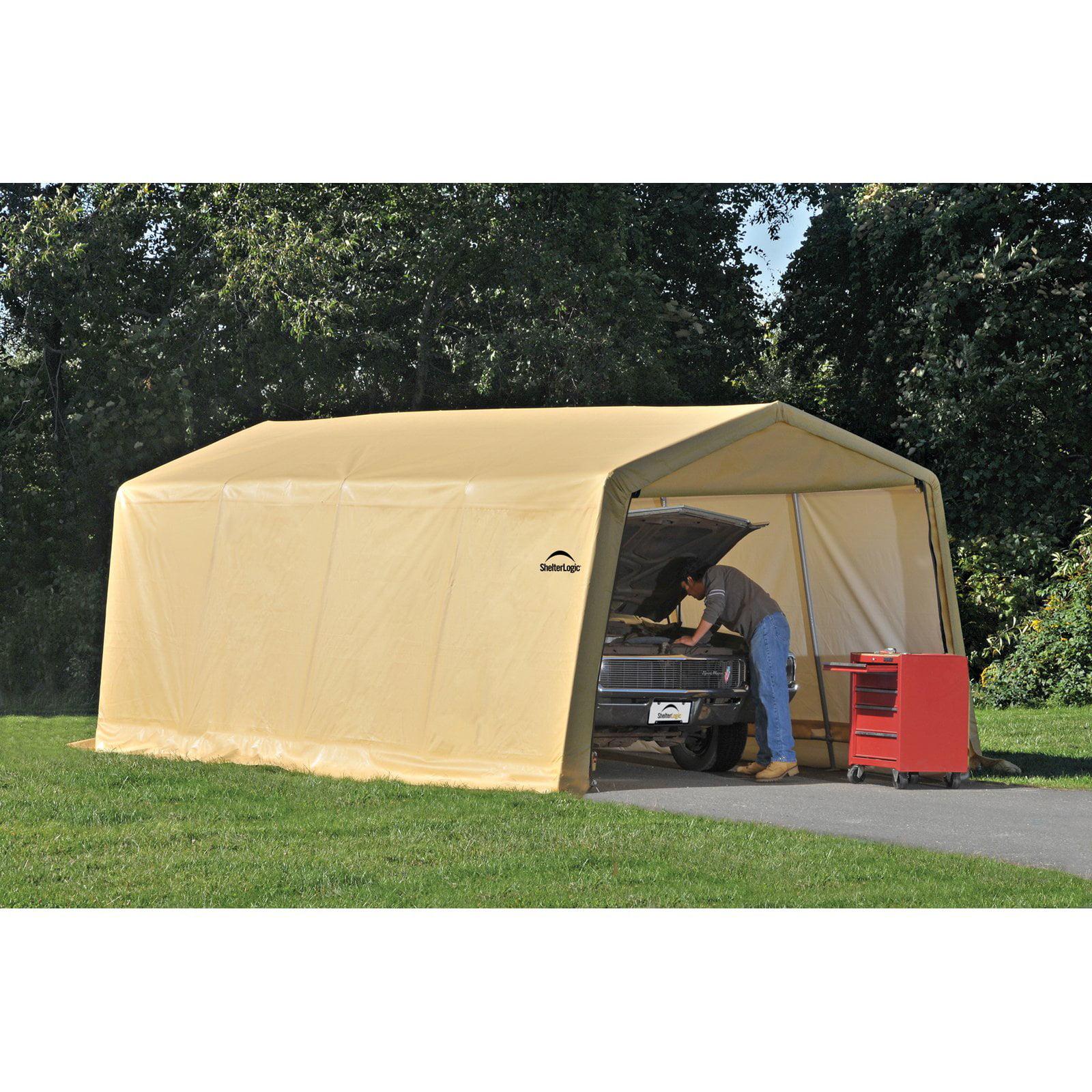 Shelterlogic Auto Shelter 10' x 20 x8' Peak Style Instant Garage, Sandstone by ShelterLogic