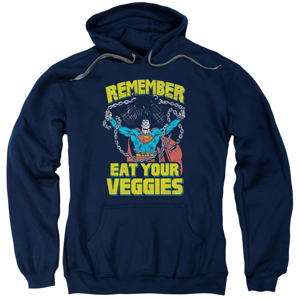 Superman/Veggie Power Adult Pull Over Hoodie Navy  Sm1965
