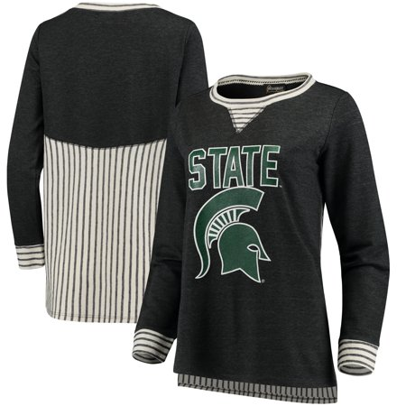 Michigan State Spartans Women's Striped Panel Oversized Long Sleeve Tri-Blend Tunic Shirt - Heathered Charcoal - Spartan Tunic