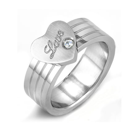 "Stainless Steel ""Love"" Heart with Cubic Zirconia Ring"