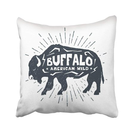 RYLABLUE Black Animal Label With Buffalo And American Wild Lettering White Badge Burst Drawing Pillowcase Throw Pillow Cover 18x18 inches - image 1 de 1