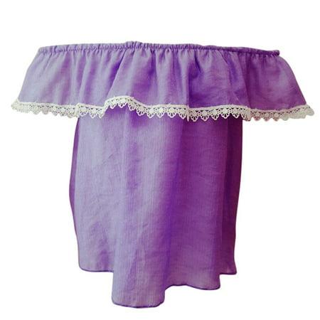 Girls Purple Contrast Scalloped Lace Trim Off-Shoulder Blouse Top
