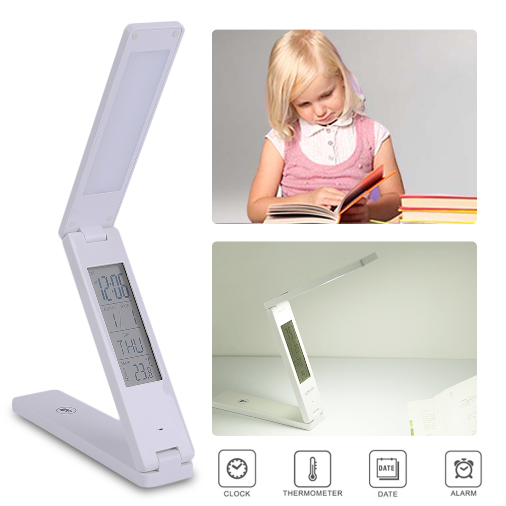 18 LED Calendar Foldable Touch Switch Lamp USB Reading Desk Table Light