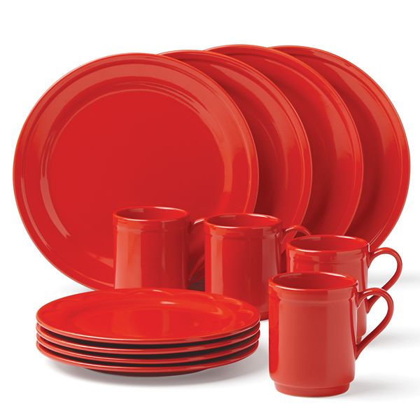 Kate Spade New York Kitchen Sculpted Scallop Red 12 Piece Dishware Set    Walmart.com