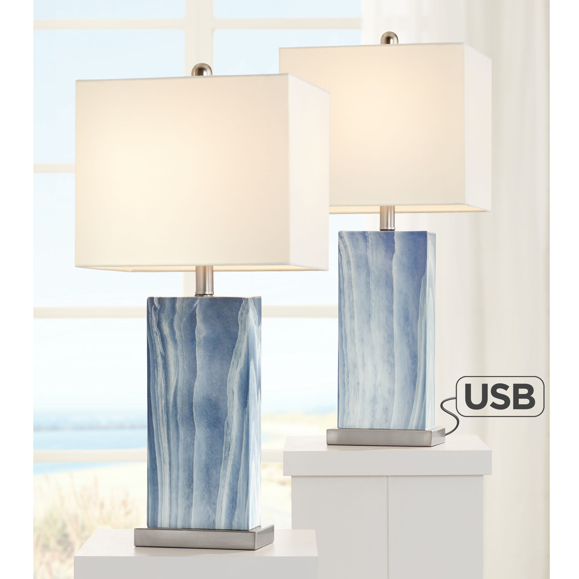 Picture of: 360 Lighting Modern Table Lamps Set Of 2 With Usb Charging Port Rectangular Blue White Fabric Shade Living Room Bedroom Bedside Walmart Com Walmart Com