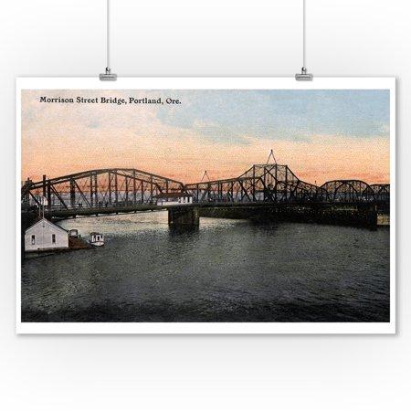 Portland, Oregon - Morrison Street Bridge View (9x12 Art Print, Wall Decor Travel