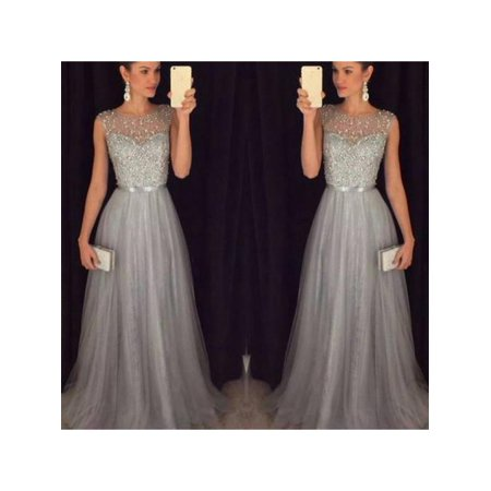 MAXSUN Elegant Women Long Evening Party Dresses Sequin Sleeveless Formal Wedding Dress