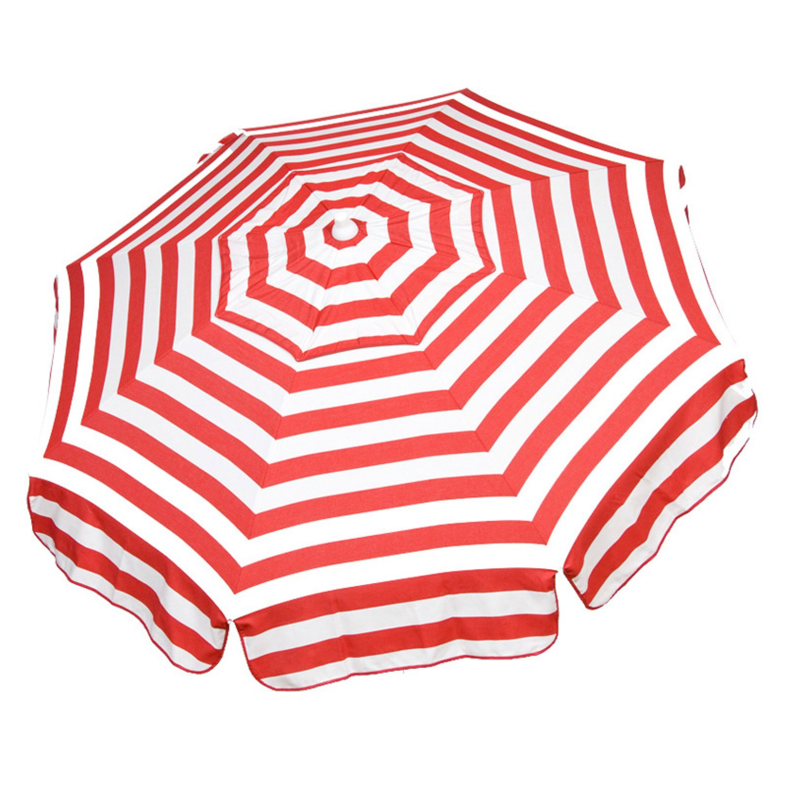 DestinationGear Italian 6' Umbrella Acrylic Stripes Red and White Patio Pole