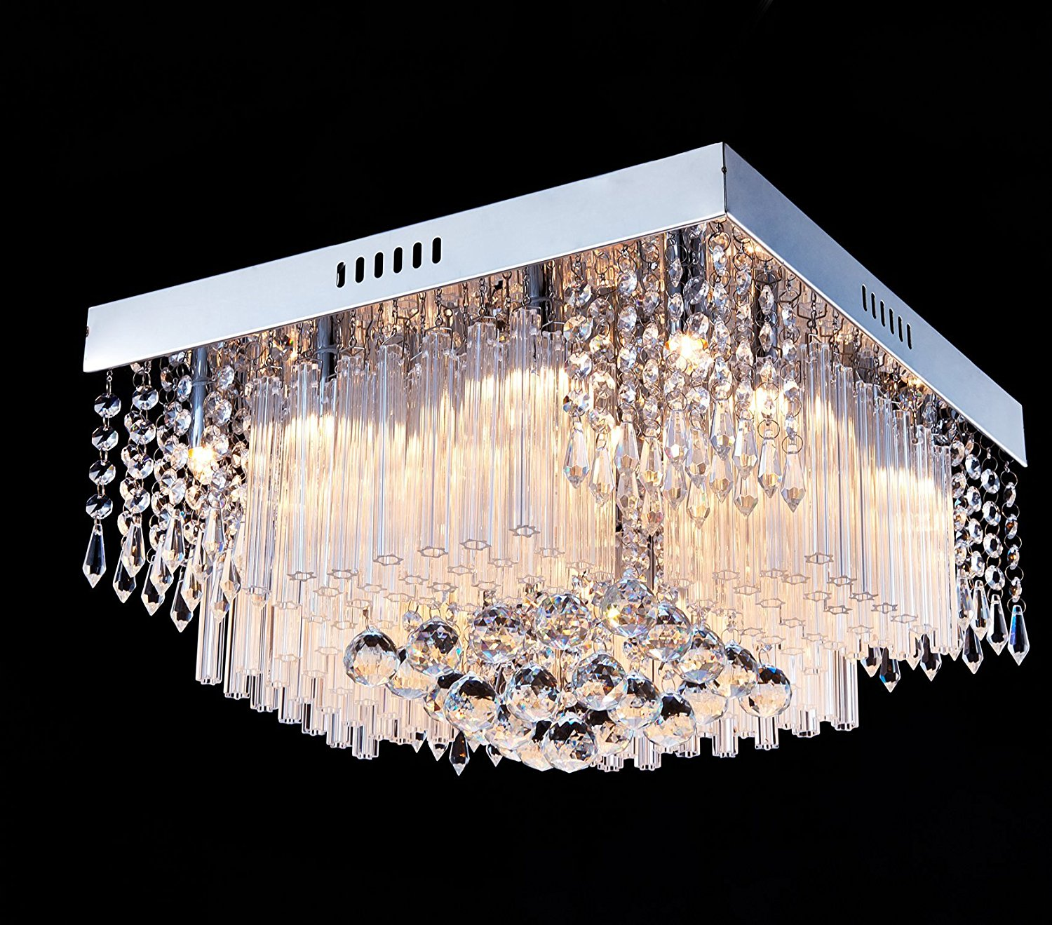 Modern Crystal Ceiling Light LED Pendant Lamp Flush Mount Chandelier Fixtures Chandeliers & Ceiling Fixtures