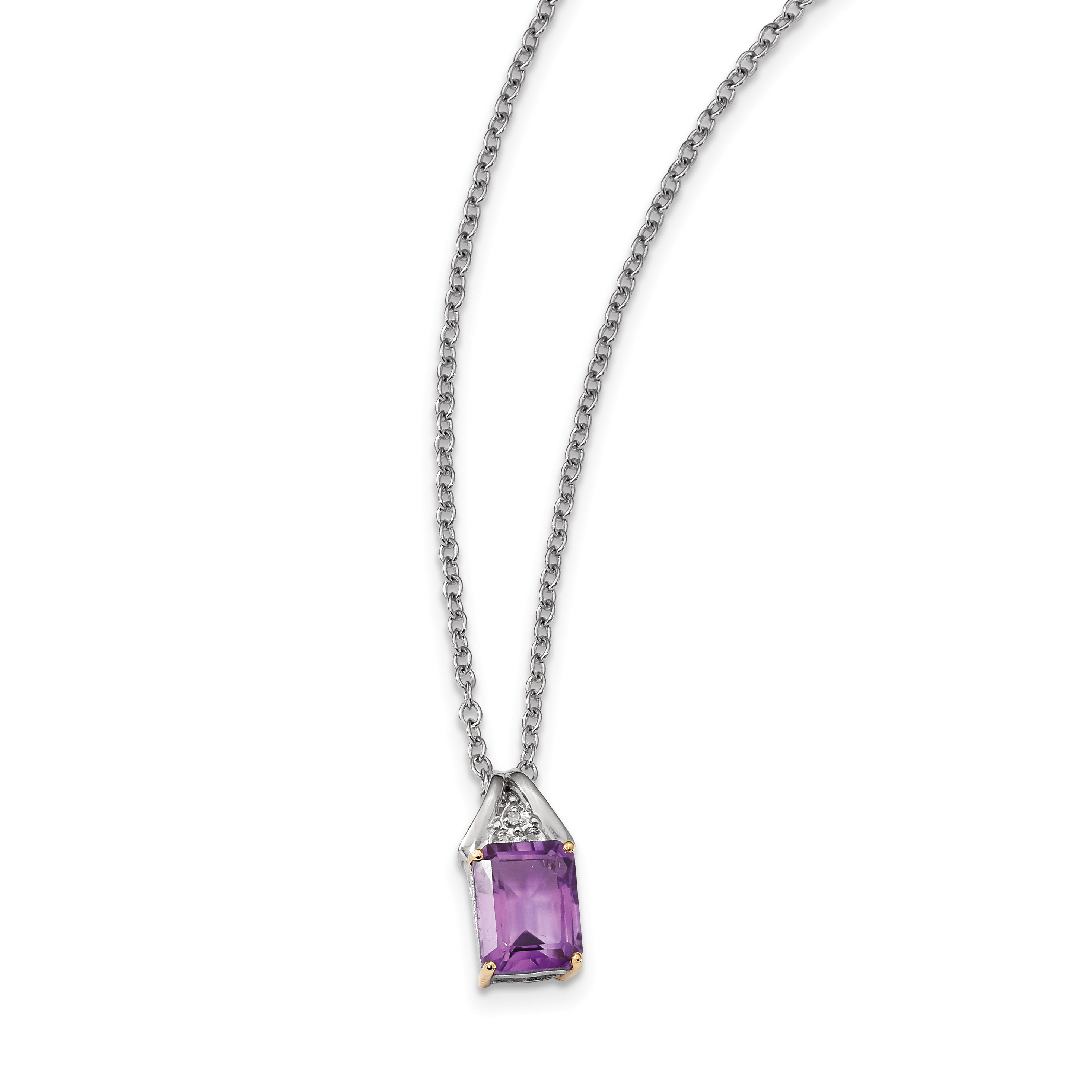 Sterling Silver & 14K Amethyst and Diamond Necklace by Saris and Things QG