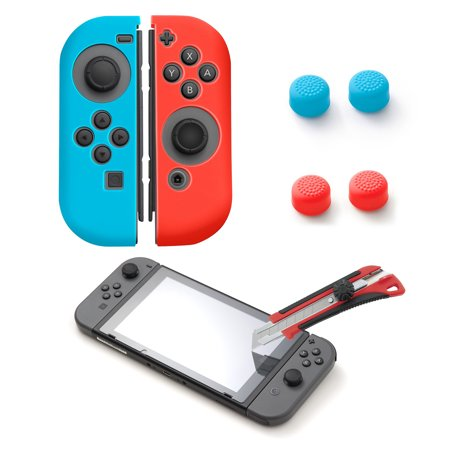 Nintendo Switch Glass Screen Protector 5in1 Bundle Kit, by Insten Silicone Joy Con Skin Case [Left BLUE/Right RED] + Tempered Glass Screen Protector + Style 1 4-pc Analog Caps for Nintendo Switch