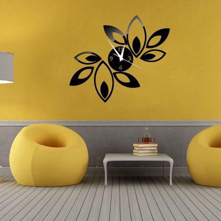 Follure Big Flower Lotus DIY 3D Art Acrylic Mirror Wall Clock DIY Wal