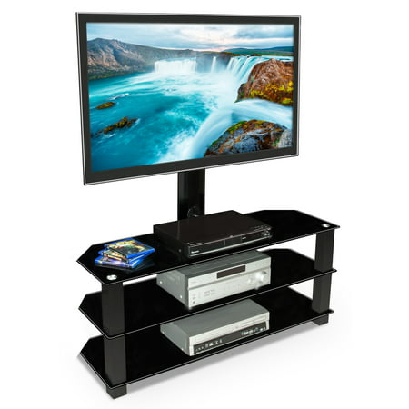 Audio Video Stands Mounts - Mount-It! TV Center Stand With Mount and Glass Shelves, Supports 32-70
