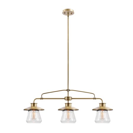Globe Electric Nate 3-Light Brass Pendant, (Brass Pendant Stem)