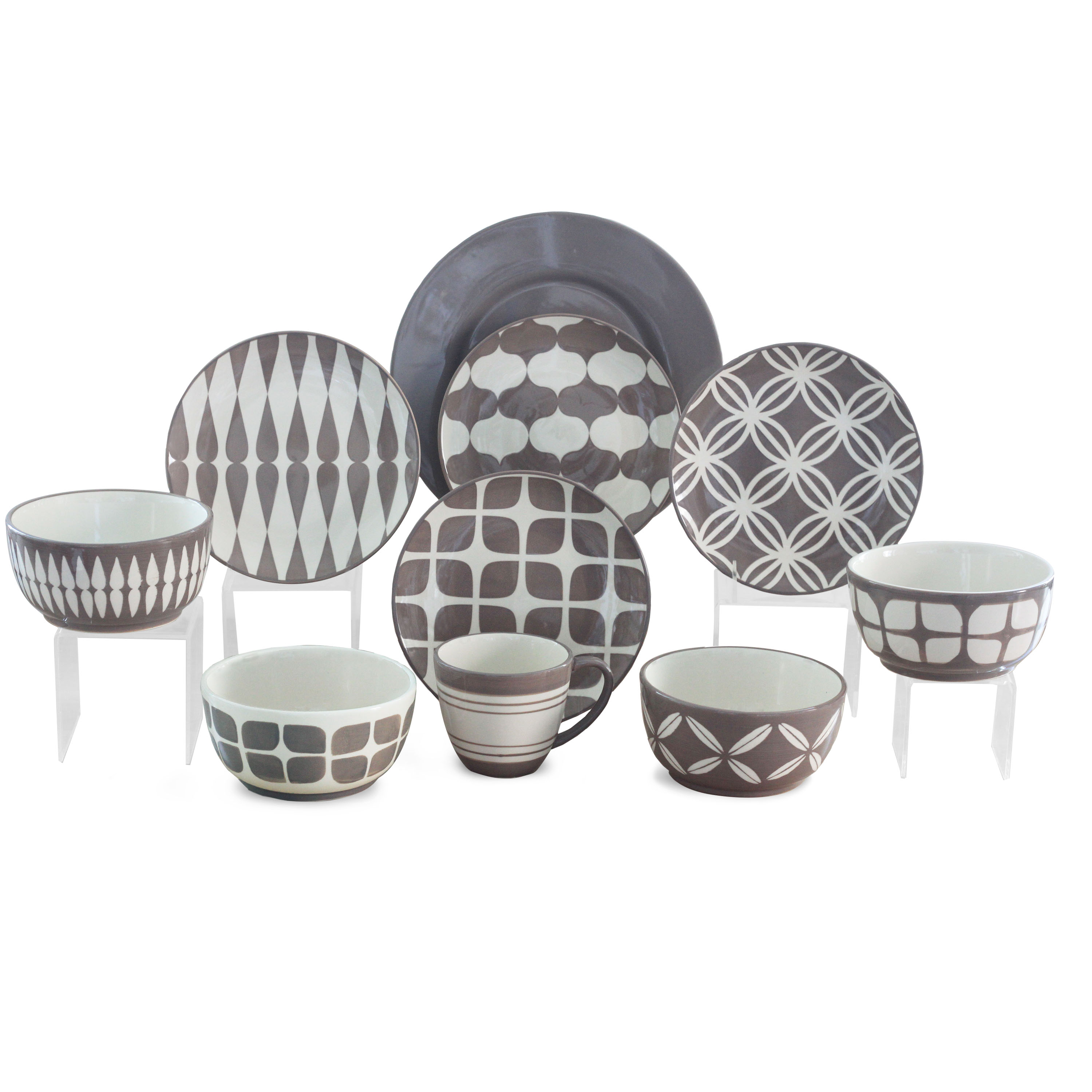 This button opens a dialog that displays additional images for this product with the option to zoom in or out.  sc 1 st  Walmart & Retro Geometric Multi Print 16-Piece Dinnerware Set - Walmart.com