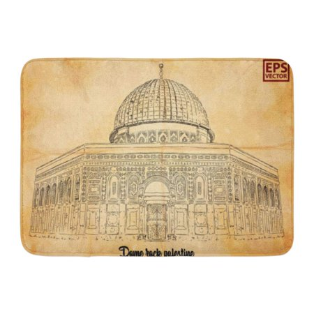 GODPOK Architecture White Ancient Dome Rock Palestine Hand Drawn Sketch Antique Artistic Rug Doormat Bath Mat 23.6x15.7