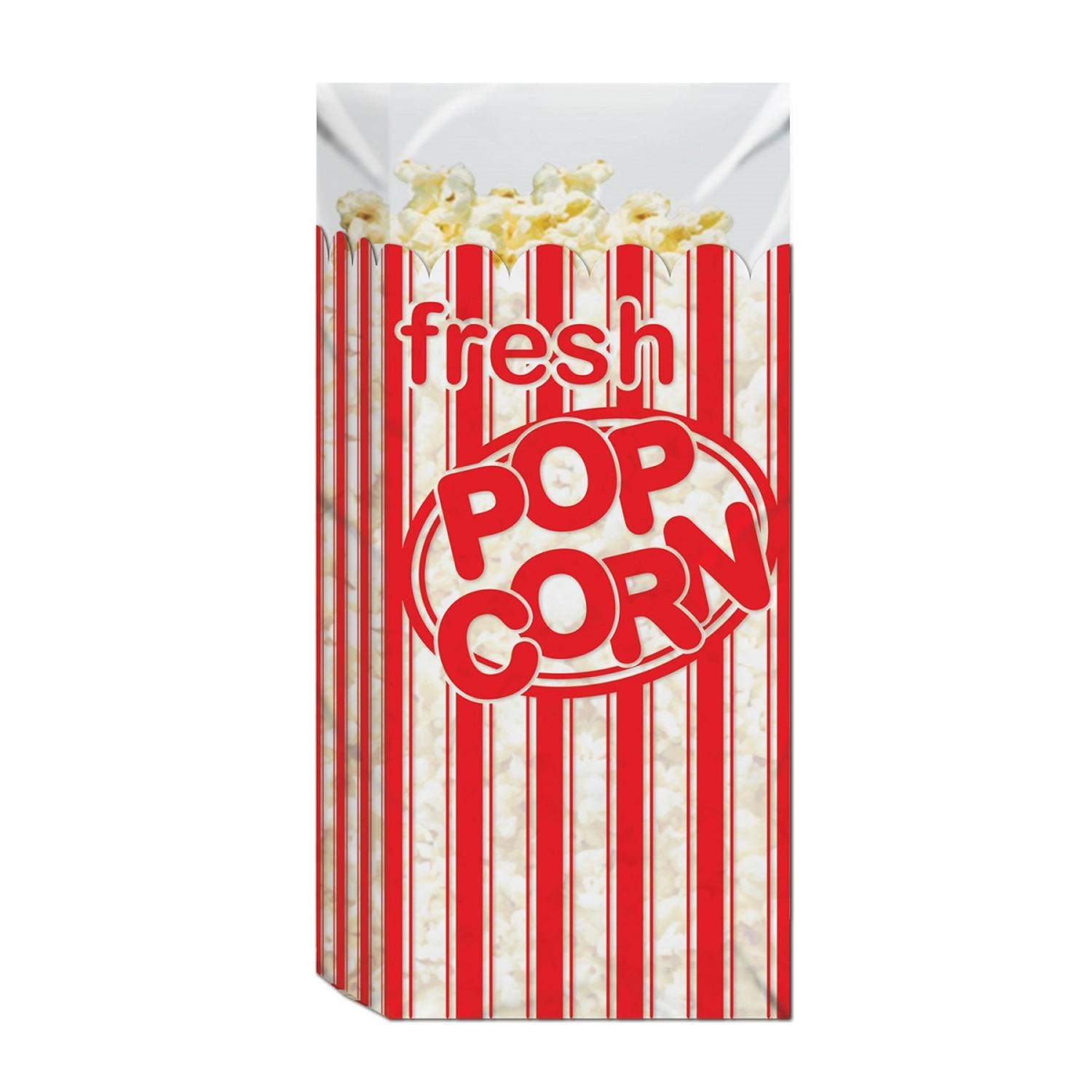 "Club Pack of 180 Red and White Striped ""Fresh Popcorn"" Movie Night Bags 11.5"""