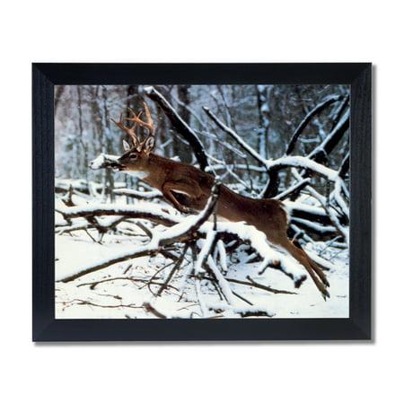 Whitetail Deer Framed - Whitetail Buck Deer Antler Jumping Tree Wall Picture Black Framed Art Print