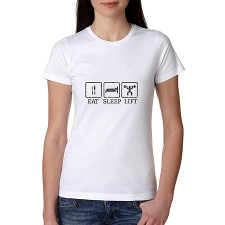 - Iconic Eat Sleep Lift Weight Training Exercise Women's Cotton T-Shirt
