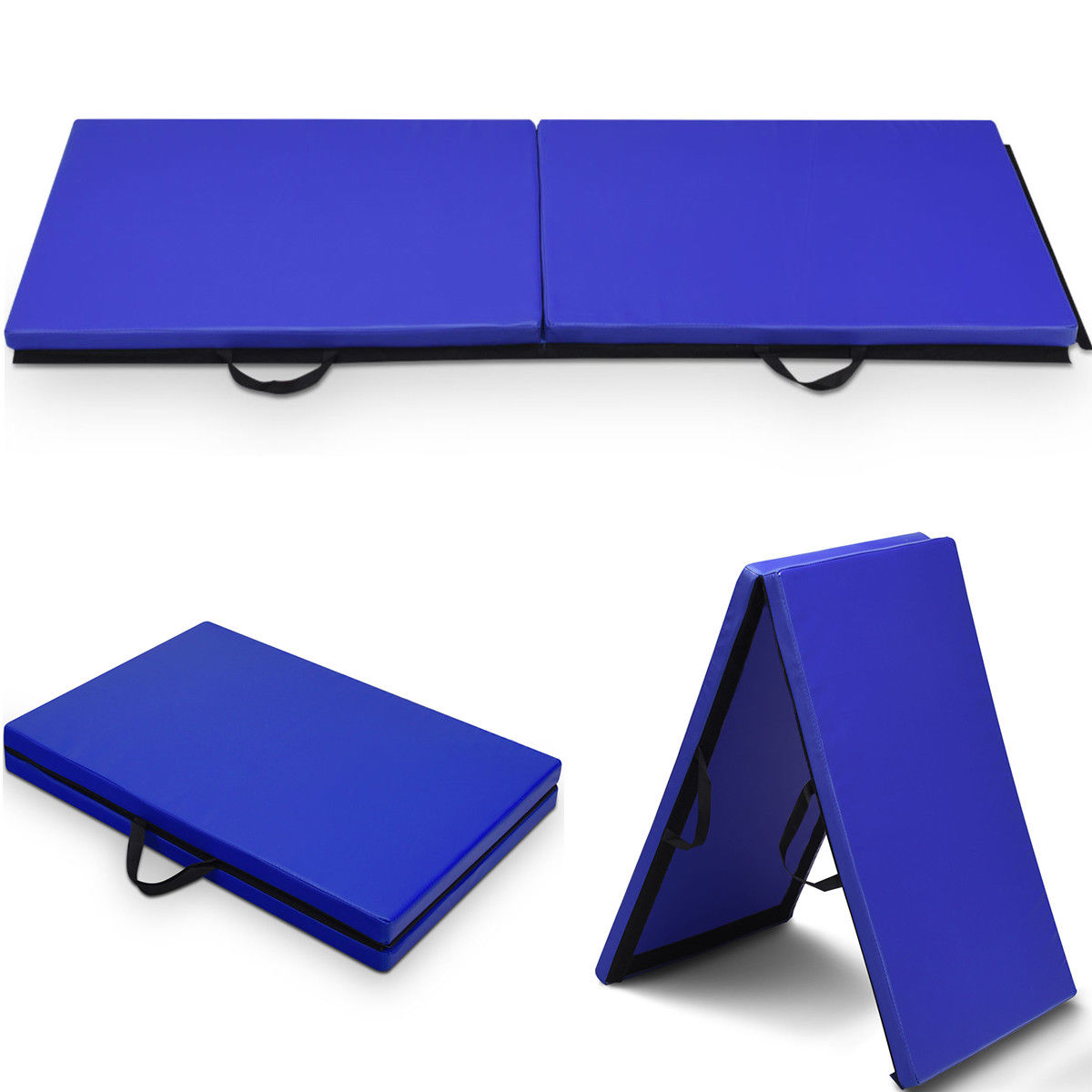 Costway 6'x 2' Gymnastics Mat Thick Two Folding Panel Gym Fitness Exercise Blue