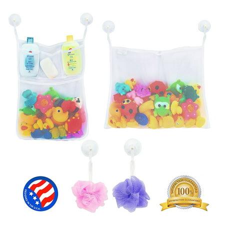Magicfly Bath Toy Organizer Original Tub Cubby Massive Baby Toy Storage Bin with 2 Mesh Toy Organizer+ 6 Strong