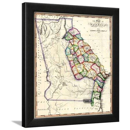 Map Of Georgia United States.1817 Georgia State Map Georgia United States Framed Print Wall