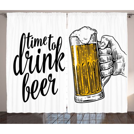 Lifestyle Curtains 2 Panels Set, Time to Drink Beer Quote with a Man Hand Holding the Mug Toast Illustration, Window Drapes for Living Room Bedroom, 108W X 96L Inches, Yellow Black, by