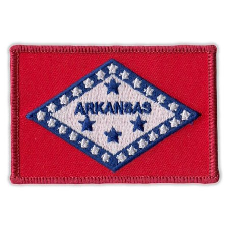 "Motorcycle Jacket Embroidered Patch - Arkansas State Flag - Vest, Cut, Leathers - 3.25"" x 2.25"""