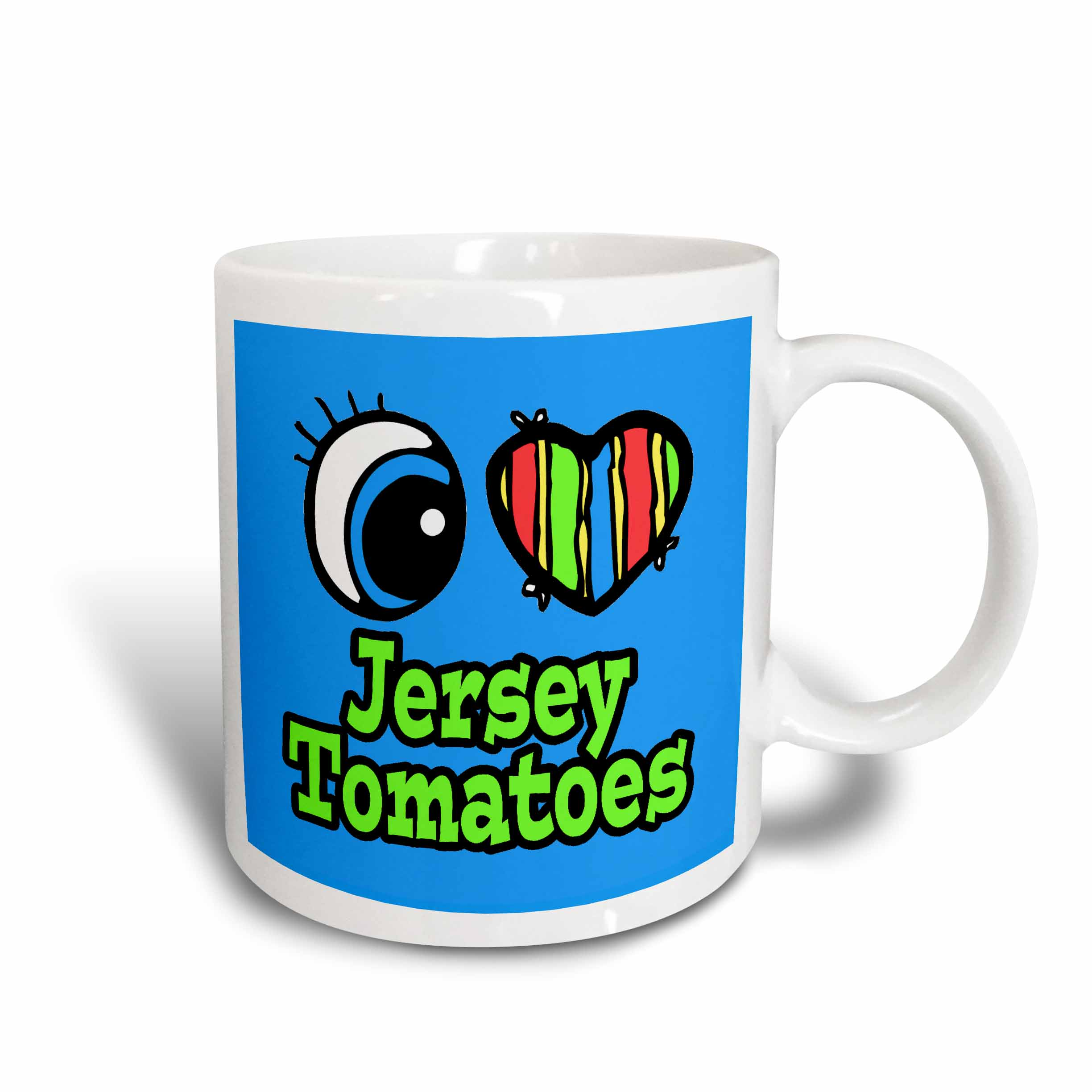 3drose Bright Eye Heart I Love Jersey Tomatoes Ceramic