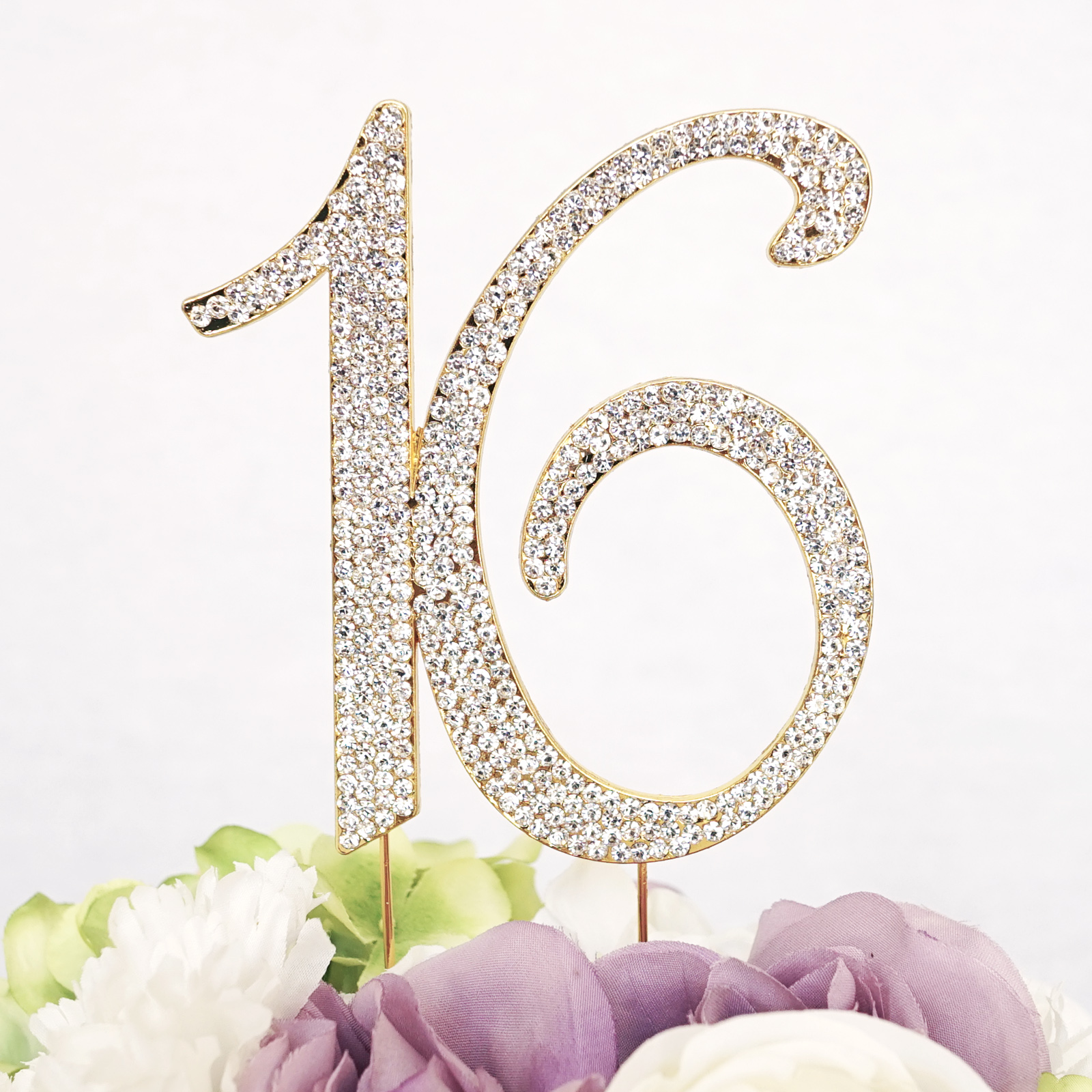 "Number ""16"" Birthday Sweet 16 Monogram Cake Topper with Rhinestone Crystals - Silver Alloy w/ Clear Rhinestones"