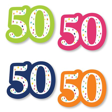 50th Birthday - Cheerful Happy Birthday - DIY Shaped Colorful Fiftieth Birthday Party Cut-Outs - 24 Count ()