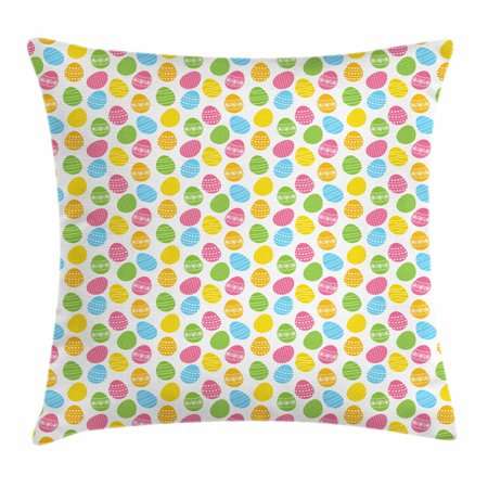 Easter Throw Pillow Cushion Cover, Greeting the Colorful and Fun Spring Season April Holiday Celebration with Food, Decorative Square Accent Pillow Case, 16 X 16 Inches, Multicolor, by Ambesonne