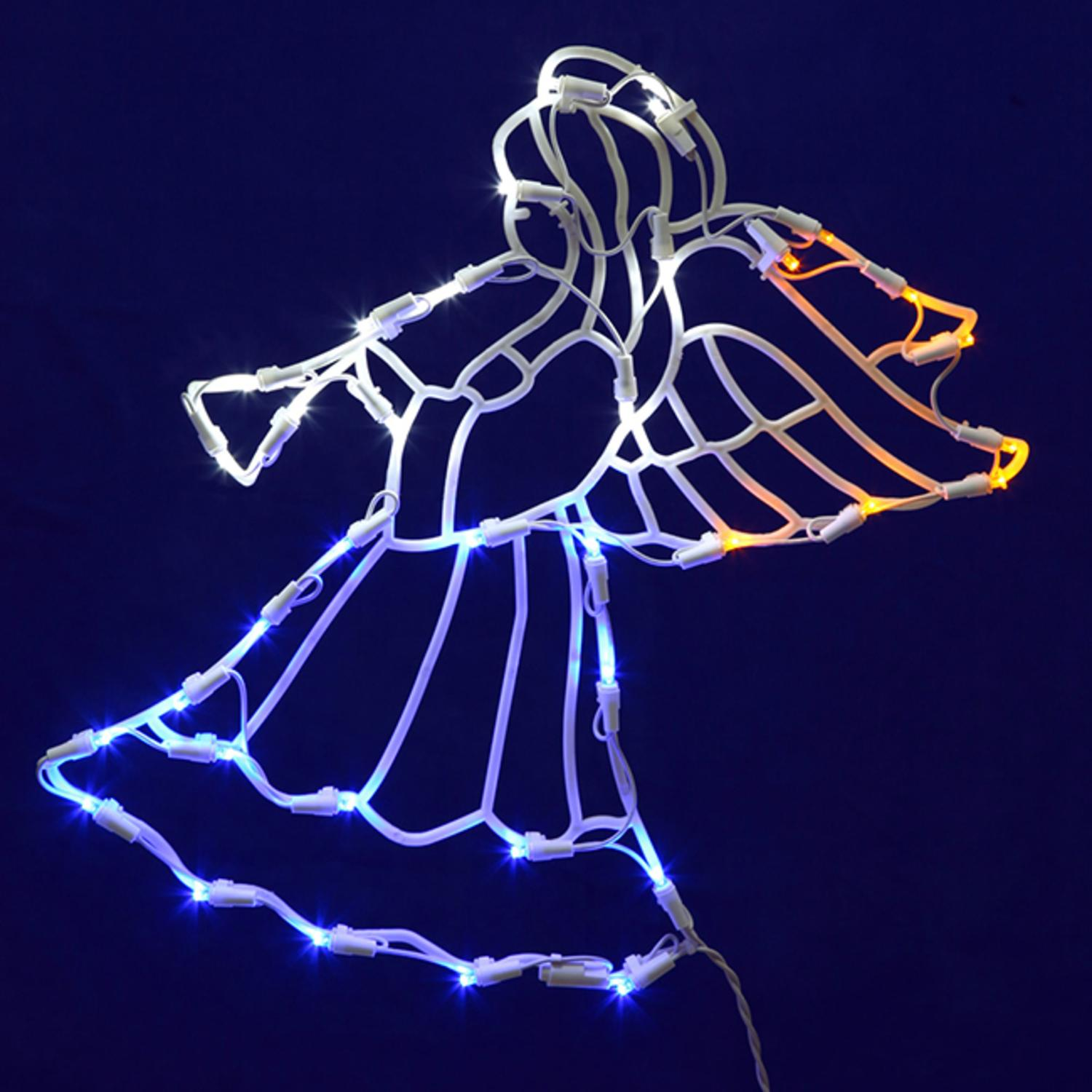 "17"" Lighted LED Angel with Horn Christmas Window Silhouette Decoration"