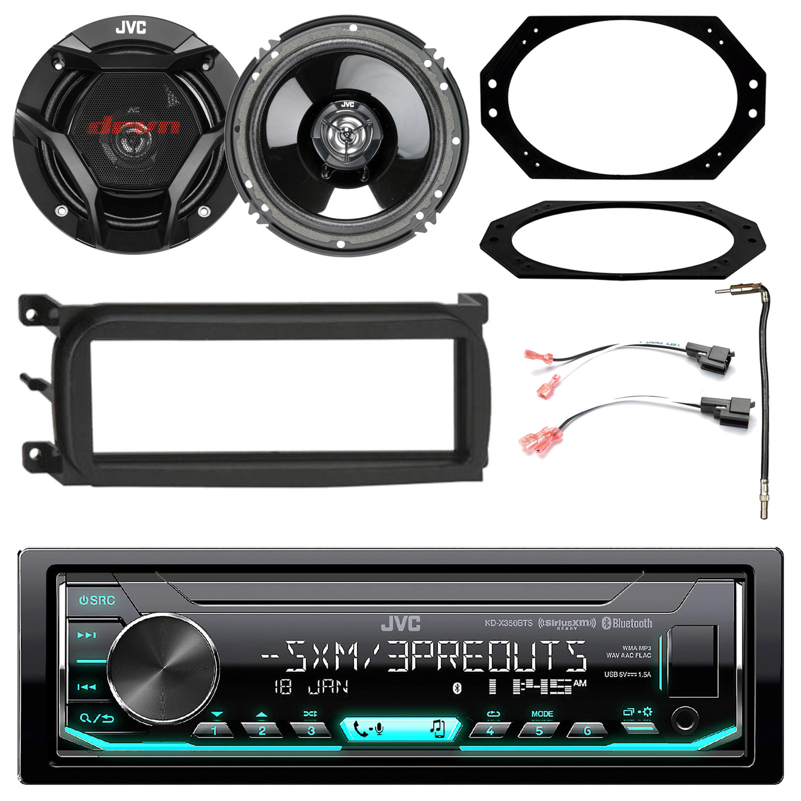 "JVC KD-X350BTS Single-Din Car Digital Media Bluetooth Receiver, USB/AUX/SiriusXM, Single-DIN Dash Kit, Speaker Connector, Antenna Adapter, JVC CS 6.5"" Speakers, 4x6"" Speaker Plate - Select Vehicles"