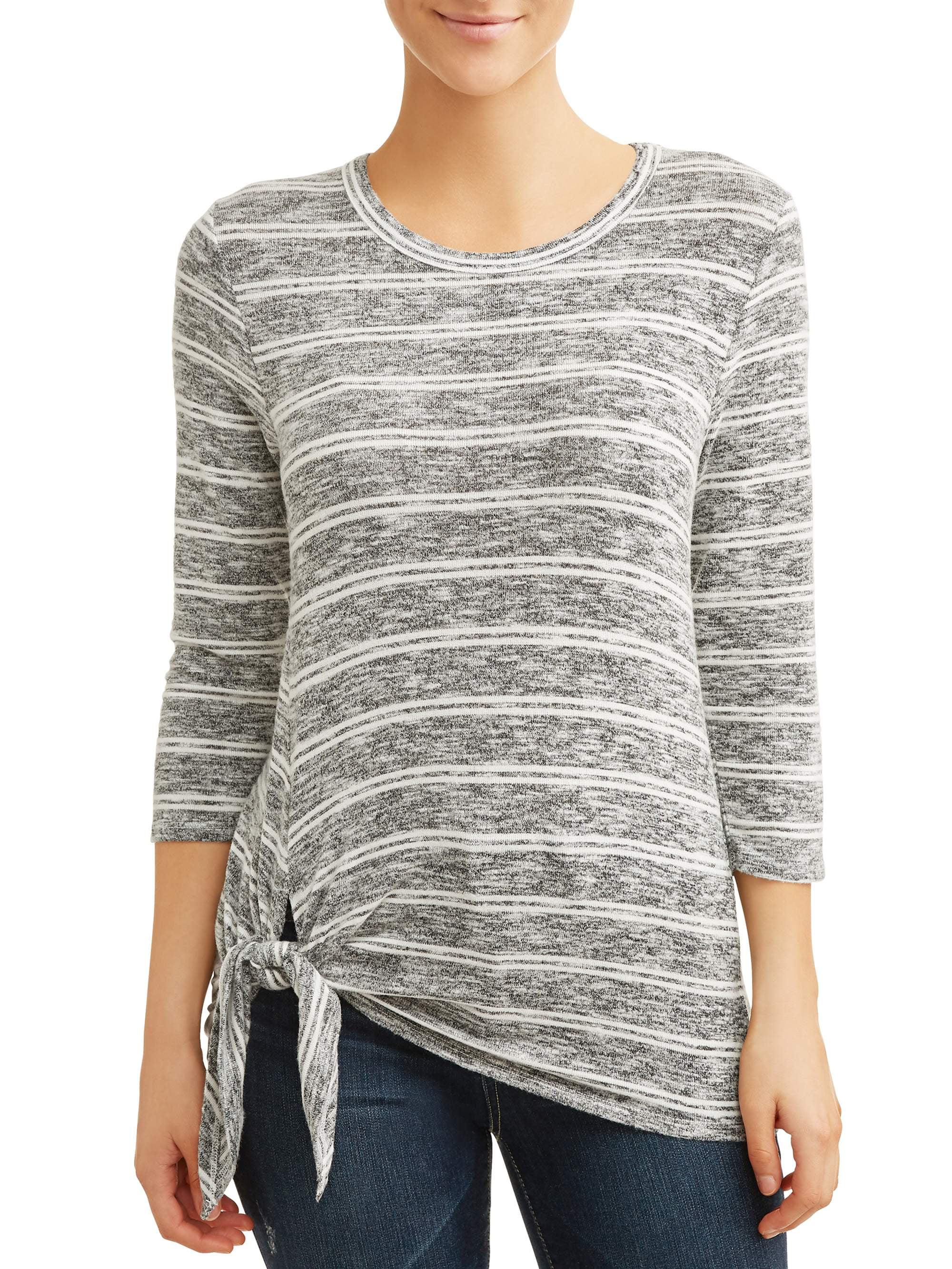 Women's 3/4 Sleeve Stripe Side Tie Sweater