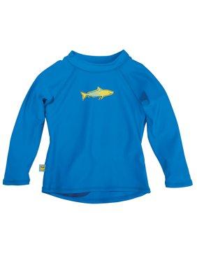 Sun Smarties Baby and Toddler Boy Rashguard - Blue with Shark - Long Sleeve